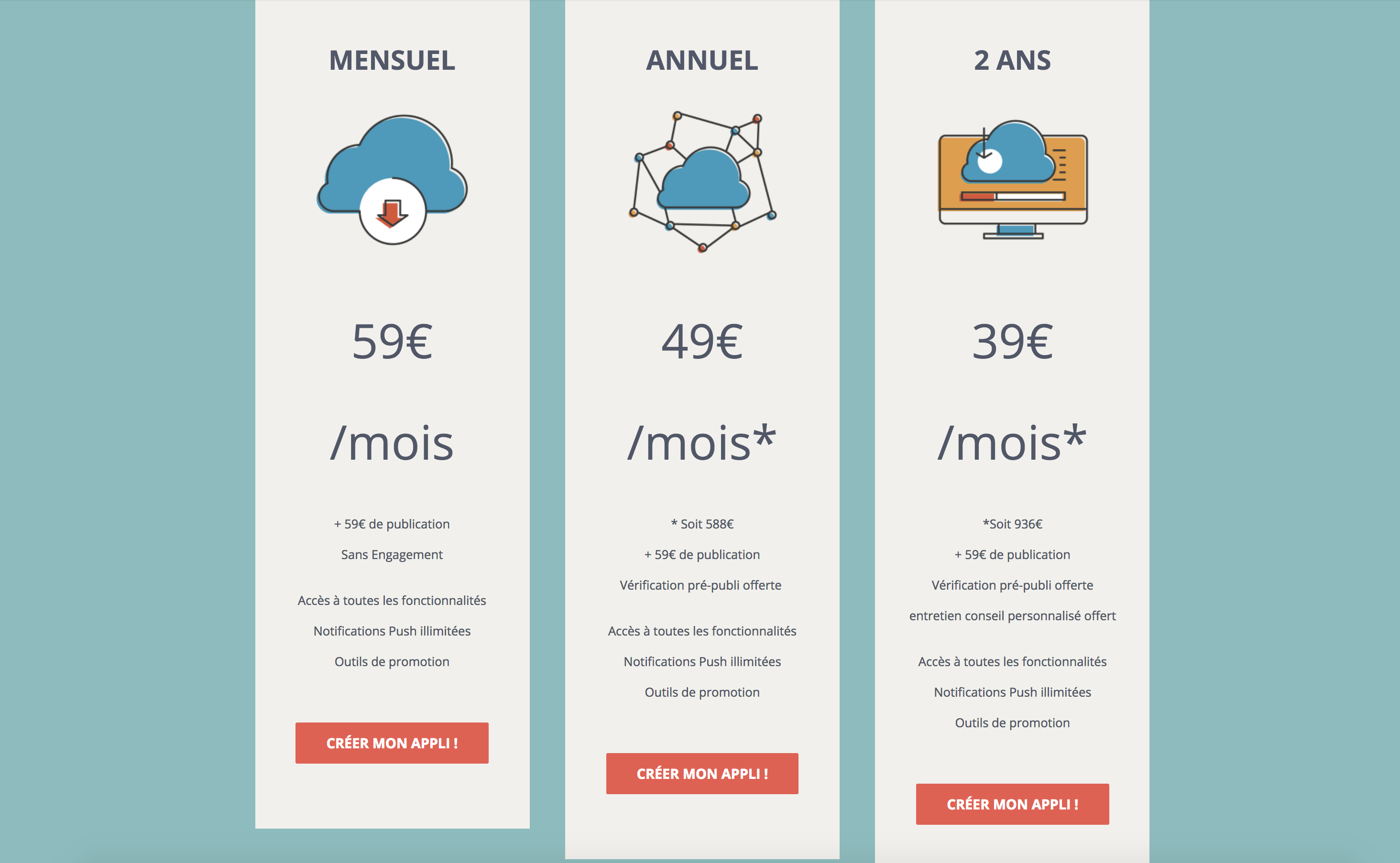 Tarifs et abonnements creation application mobile addmyapp