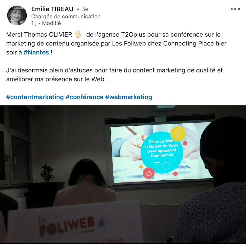 conférence le marketing de contenu Thomas Olivier FoliWeb t2oplus
